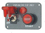 China Carbon Fiber Racing Ignition Switch Panel , Red Illuminated Engine Start Button factory