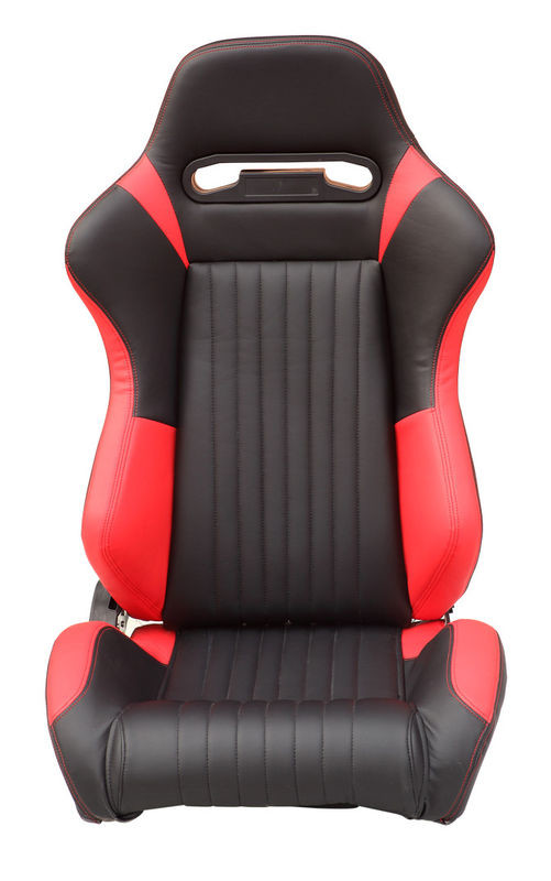 Red Stitching Sport Racing Seats Powder Coated Frame High Elastic Sponge