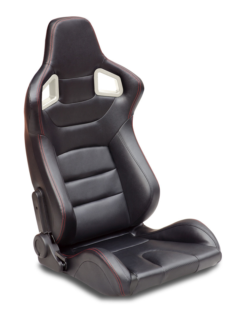 Black, Right Type One Universal Fully Reclinable Racing Seat With Red Stitch