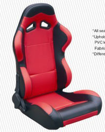 China Cars Parts Universal Black And Red Racing Seats Foldable With Safety Belts factory