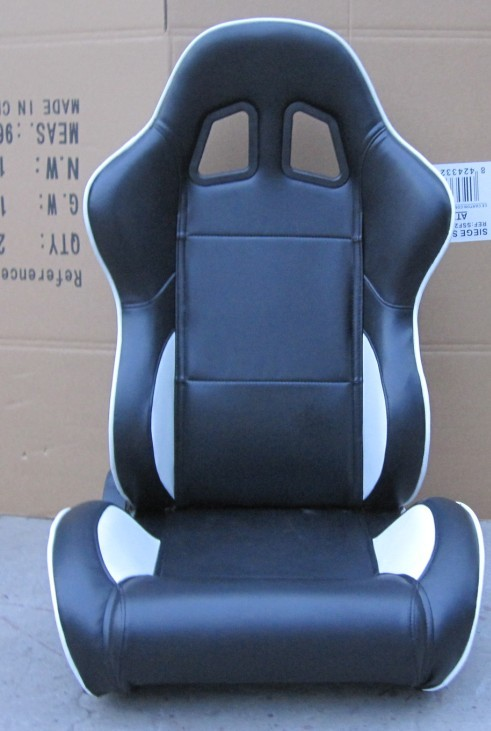 Black / White Custom Racing Seats Fully Reclinable 89 * 69 * 55 cm